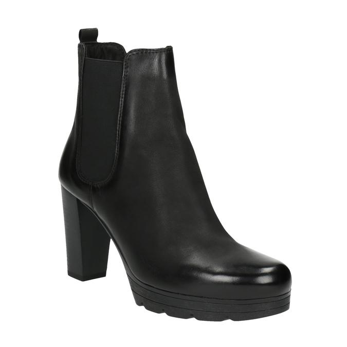 Kožená kotníčková obuv na vysokém podpatku bata, černá, 796-6604 - 13