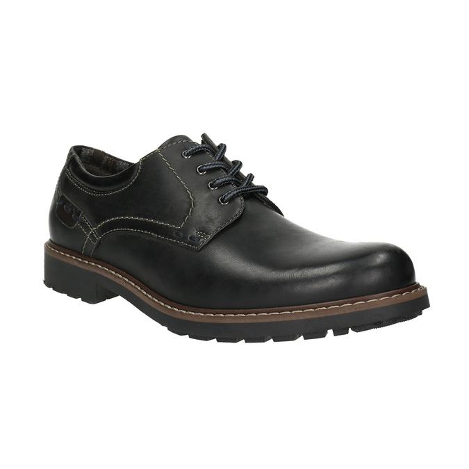Kožené polobotky s výraznou podešví bata, černá, 826-6641 - 13