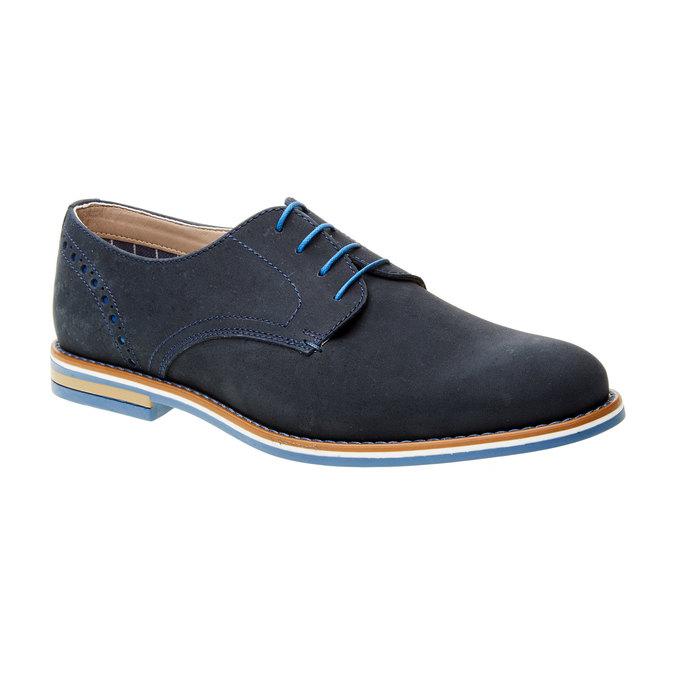 Kožené polobotky s barevnou podešví bata, modrá, 826-9839 - 13