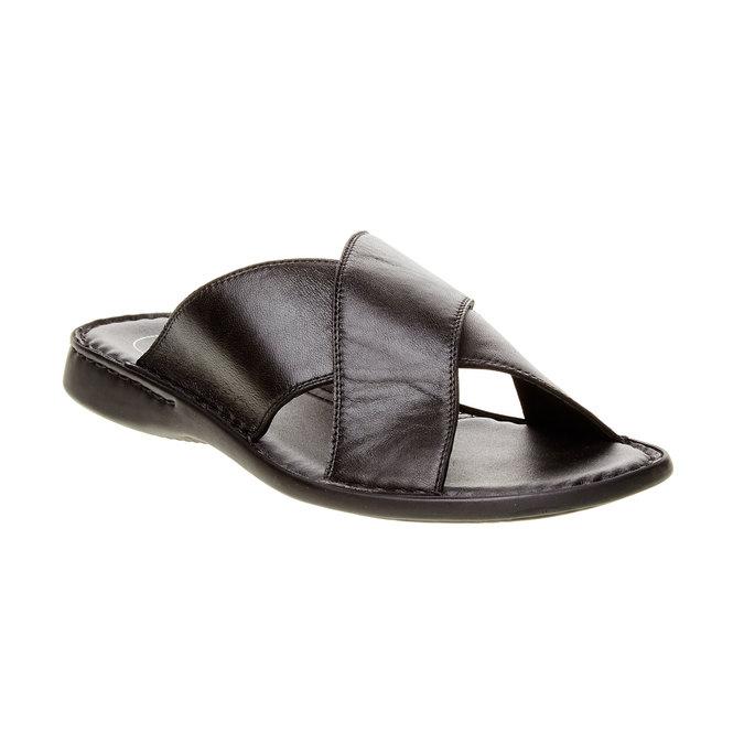 Pánské kožené nazouváky comfit, černá, 874-6161 - 13