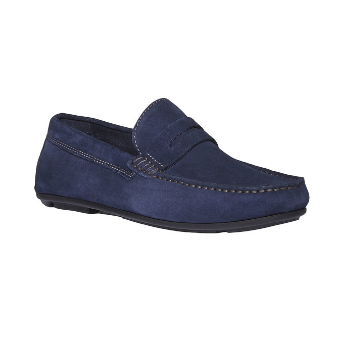 Pánské kožené mokasíny bata, modrá, 853-9180 - 13