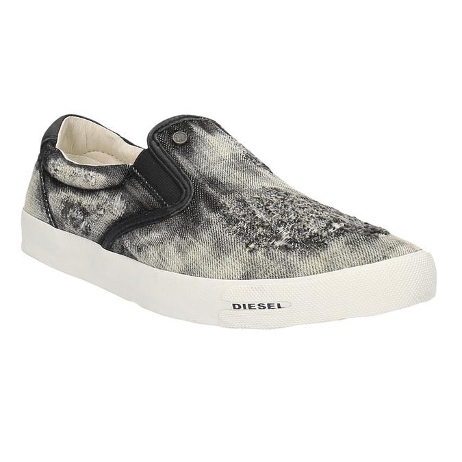 Denimové Slip on boty diesel, šedá, černá, 889-6116 - 13