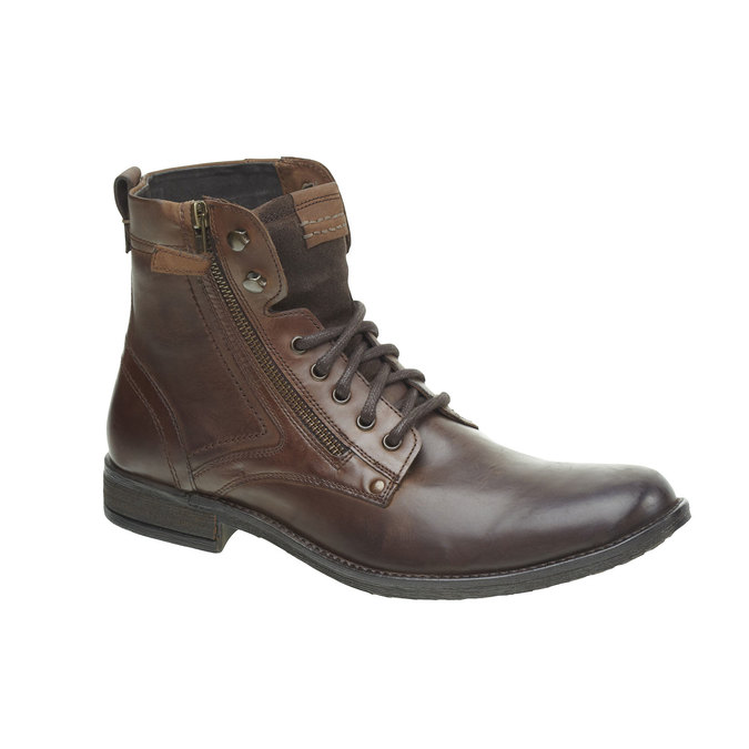Kožená kotníčková obuv bata, hnědá, 894-4449 - 13