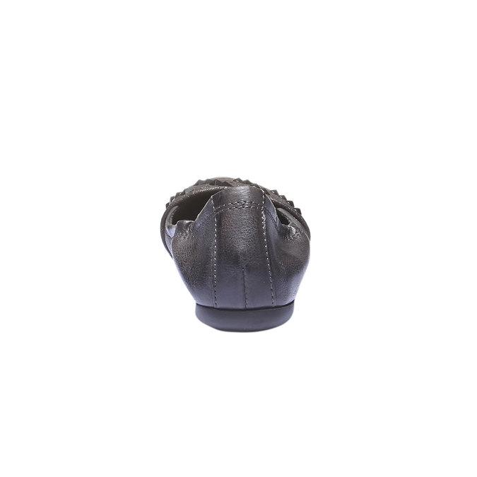 Kožené baleríny s kovovými detaily bata, šedá, 526-9101 - 17