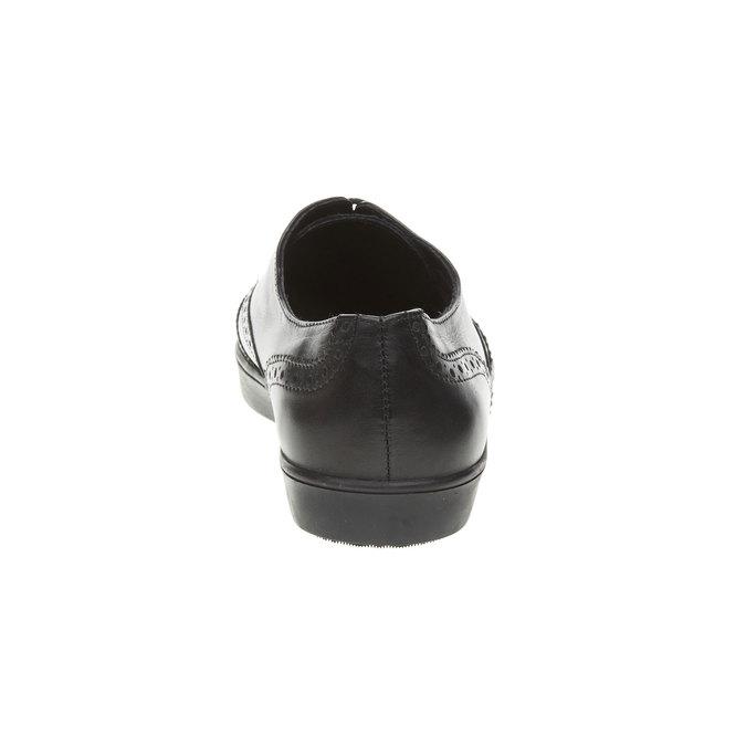 Kožené polobotky se zdobením bata, černá, 524-6463 - 17