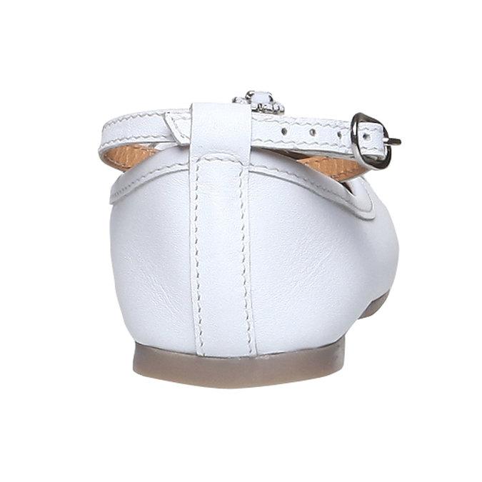 Kožené baleríny s páskem kolem kotníku mini-b, bílá, 324-1171 - 17