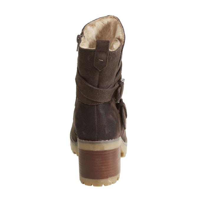 Kožené kozačky s přezkami bata, hnědá, 693-4100 - 17