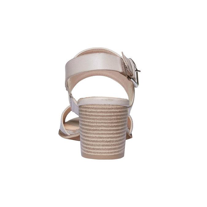 Kožené sandály na širokém podpatku bata, šedá, 664-2205 - 17
