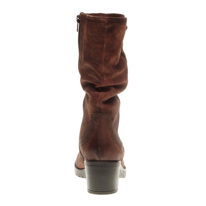 Kožené kozačky na stabilním podpatku bata, hnědá, 696-4127 - 17