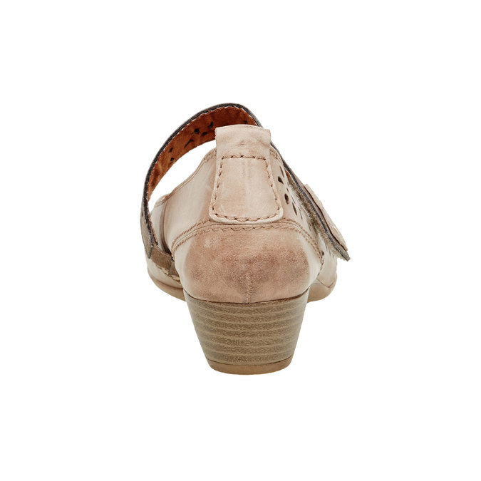 Kožené lodičky s páskem bata, hnědá, 624-3103 - 17