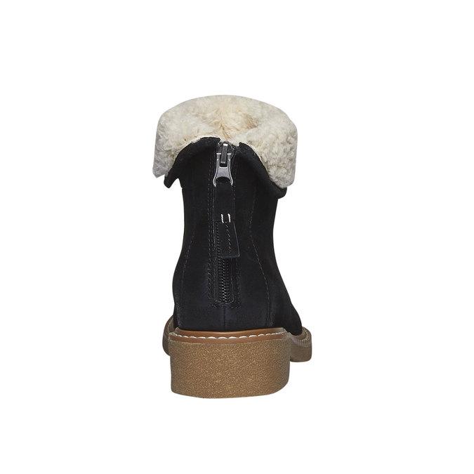 Kožené kotníkové kozačky s kožíškem bata, černá, 593-6100 - 17