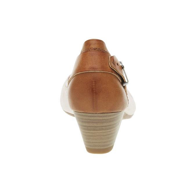 Kožené lodičky s páskem bata, béžová, 624-5391 - 17