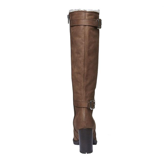 Kožené kozačky na podpatku bata, hnědá, 796-3100 - 17