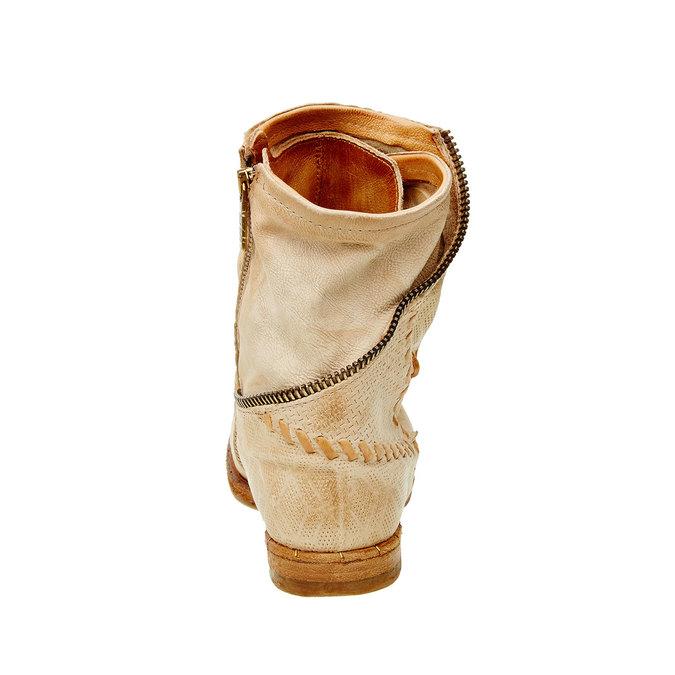 Kožené kotníkové boty a-s-98, béžová, 596-8006 - 17
