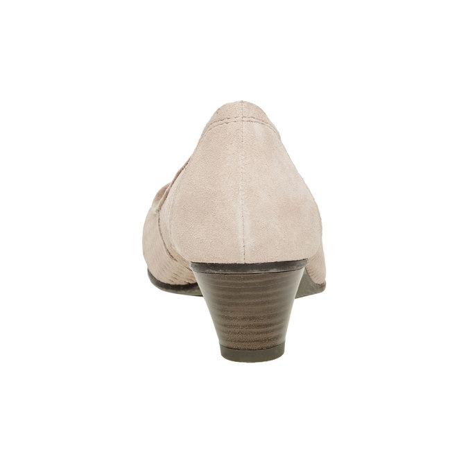 Kožené lodičky s perforací bata, hnědá, 723-3100 - 17