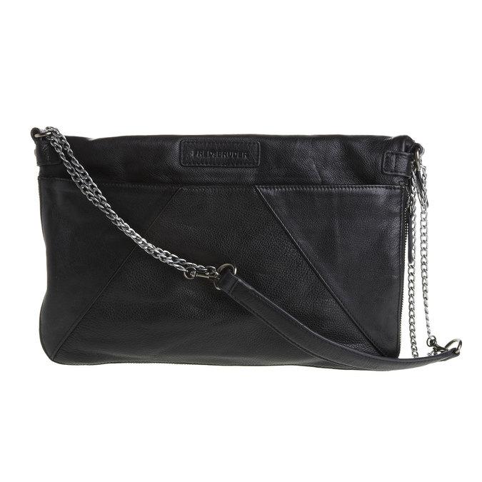 Menší kožená kabelka s klopou fredsbruder, černá, 964-6092 - 26