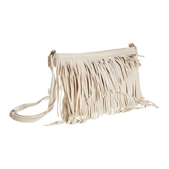 Kožená Crossbody kabelka s třásněmi bata, béžová, 963-8120 - 13