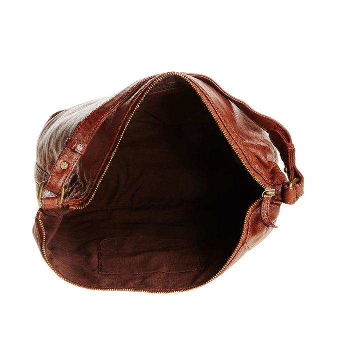 Kožená kabelka v Hobo stylu bata, hnědá, 964-4192 - 15