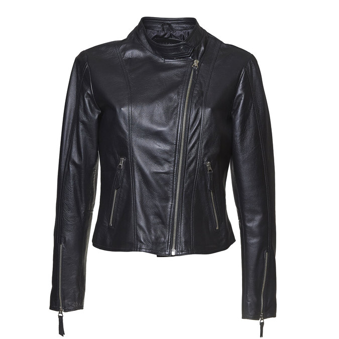 Dámská kožená bunda bata, černá, 974-6145 - 13