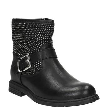 Dětská kotníčková obuv s kamínky mini-b, černá, 391-6249 - 13