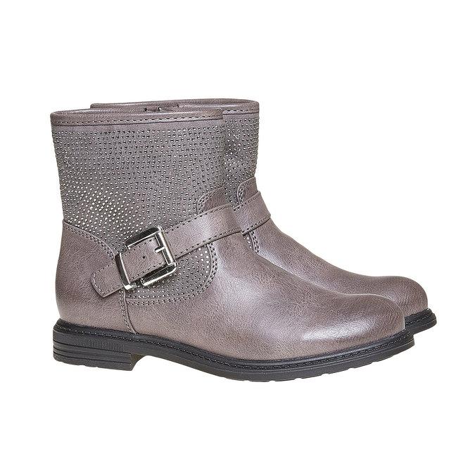 Dětská kotníčková obuv s kamínky mini-b, šedá, 391-2249 - 26