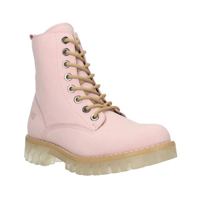 Kožená šněrovací obuv na průhledné podešvi weinbrenner, růžová, 596-5639 - 13