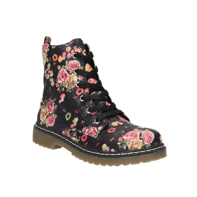 Dívčí kotníčková obuv s květinovým vzorem mini-b, černá, 321-9600 - 13