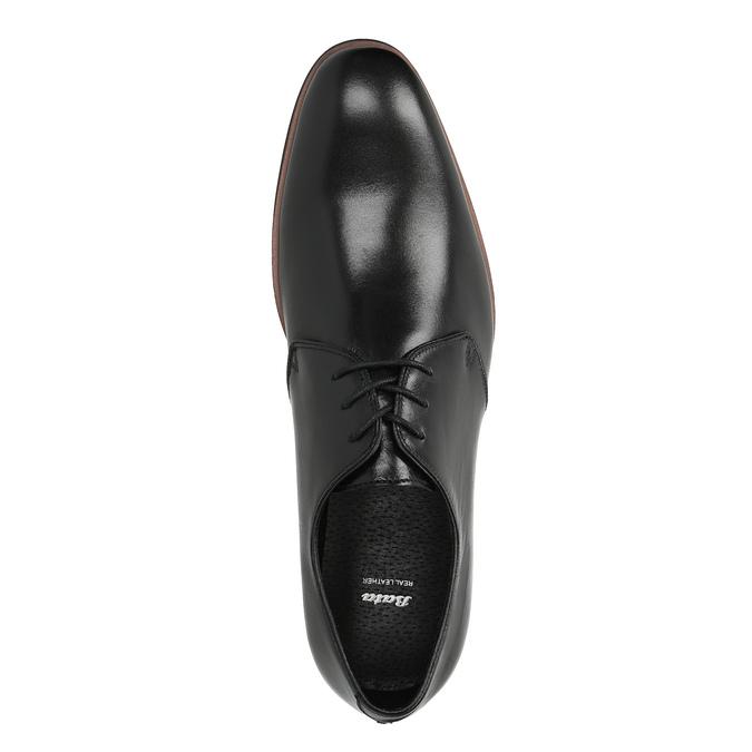 Černé kožené polobotky s ležérní podešví bata, černá, 824-6679 - 19