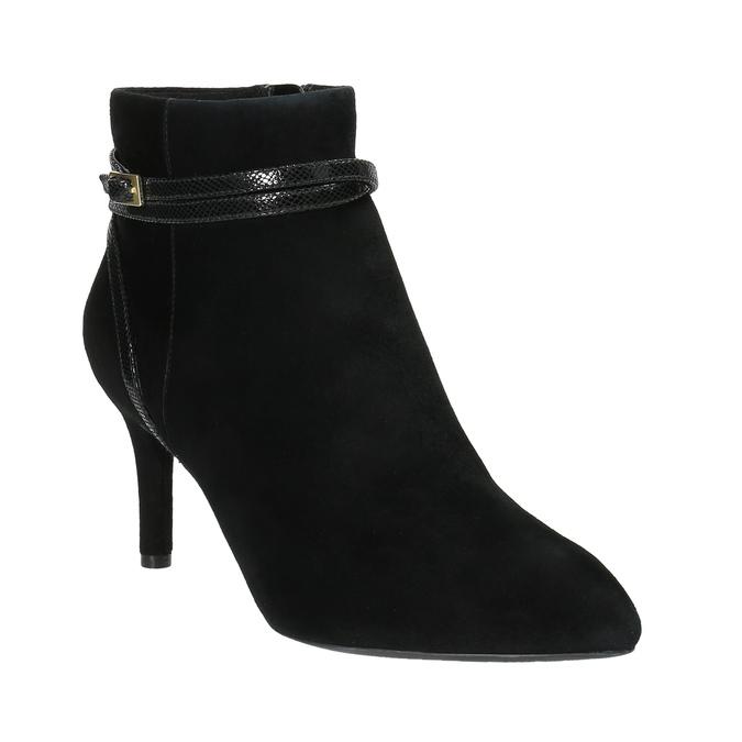 Dámská kotníčková obuv na jehlovém podpatku rockport, černá, 713-6101 - 13