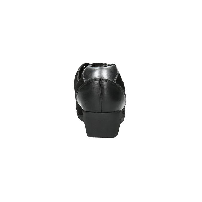 Kožené polobotky na klínovém podpatku clarks, černá, 643-6001 - 17