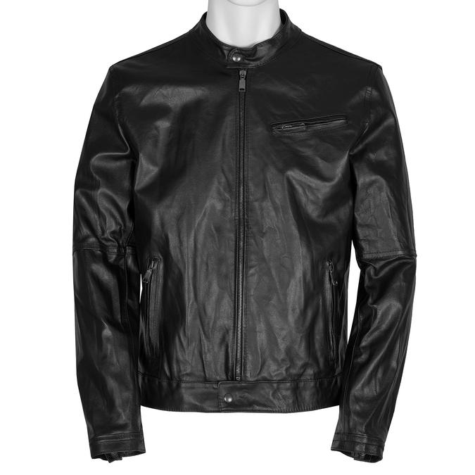 Pánská kožená bunda se stylovým prošitím bata, černá, 974-6142 - 13