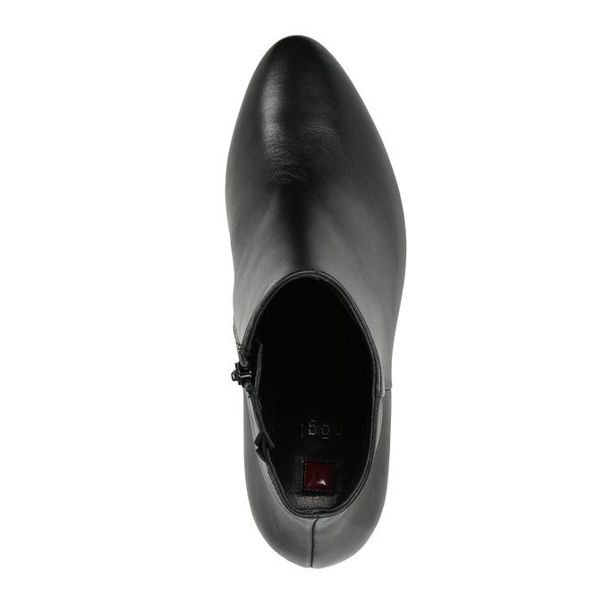 Kožená kotníčková obuv na podpatku hogl, černá, 794-6019 - 19