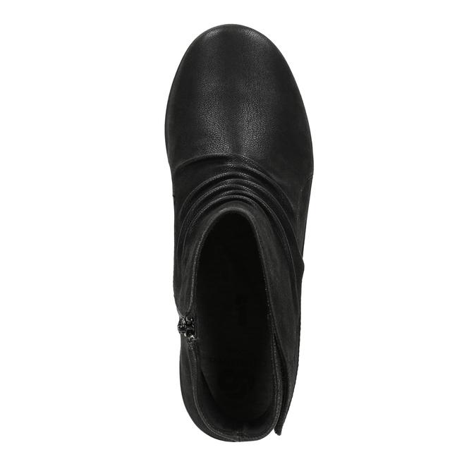 Kotníčková obuv s nařasením na nártu clarks, černá, 611-6006 - 19