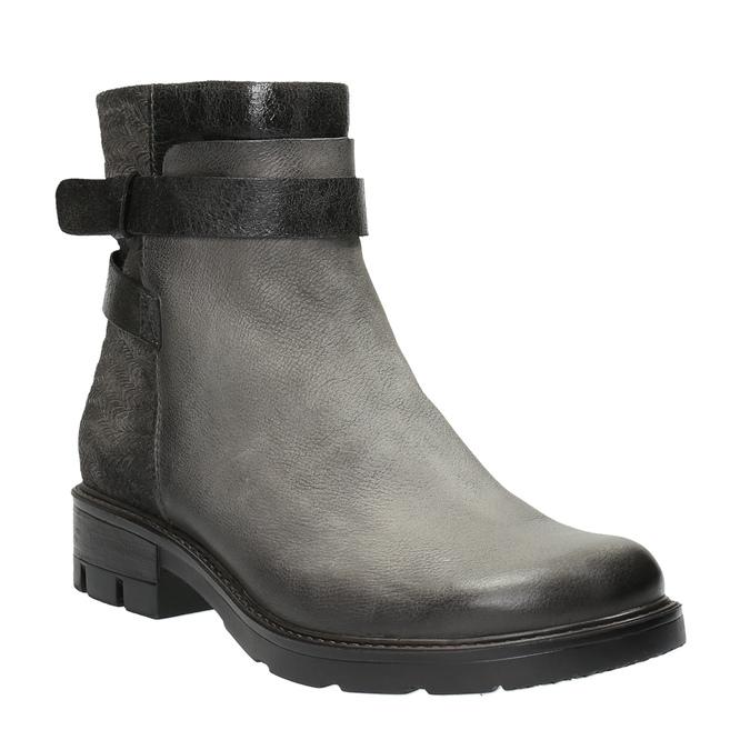 Kožená kotníčková obuv s metalickými prvky bata, šedá, 596-2619 - 13