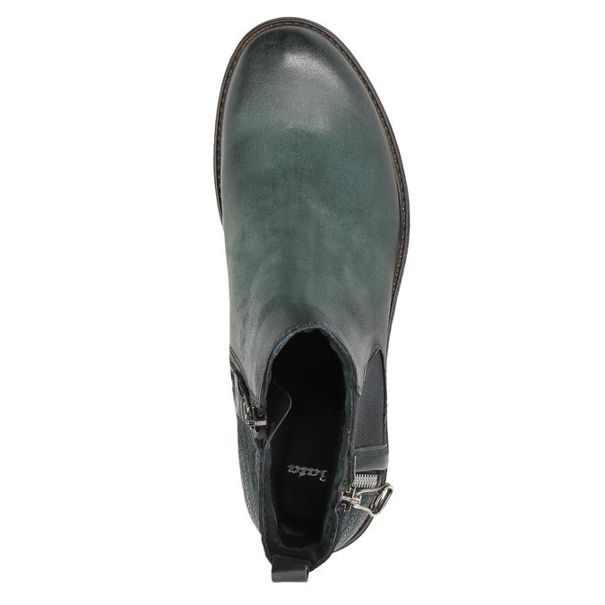 Kožená kotníčková obuv na výrazné podešvi bata, tyrkysová, 596-9615 - 19