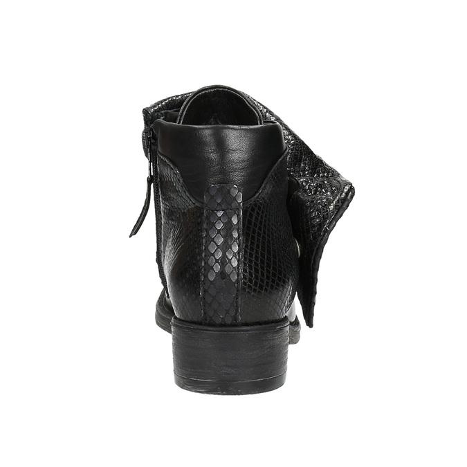 Kožená kotníčková obuv se širokým lemem bata, černá, 596-6617 - 17