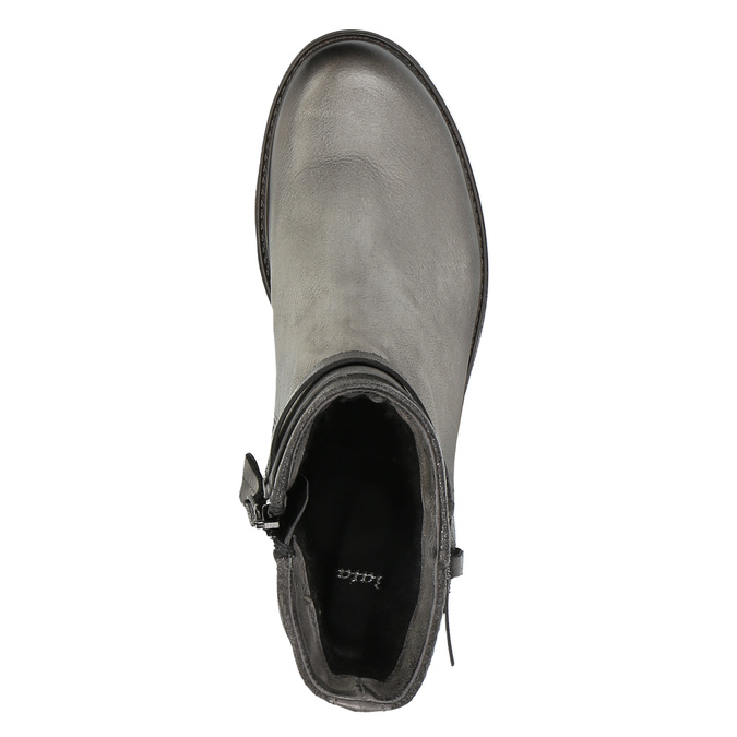 Kožená kotníčková obuv s metalickými prvky bata, šedá, 596-2619 - 19