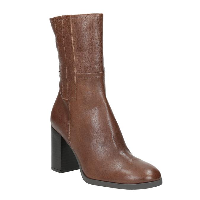 Kožené kozačky na masivním podpatku bata, hnědá, 796-4635 - 13