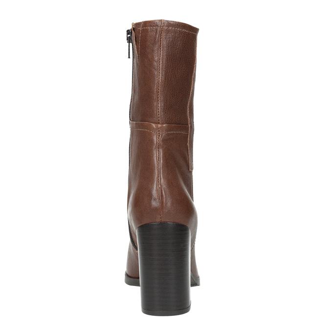 Kožené kozačky na masivním podpatku bata, hnědá, 796-4635 - 17