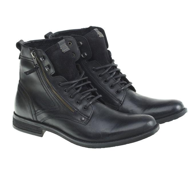 Kožená kotníčková obuv bata, černá, 894-6449 - 26