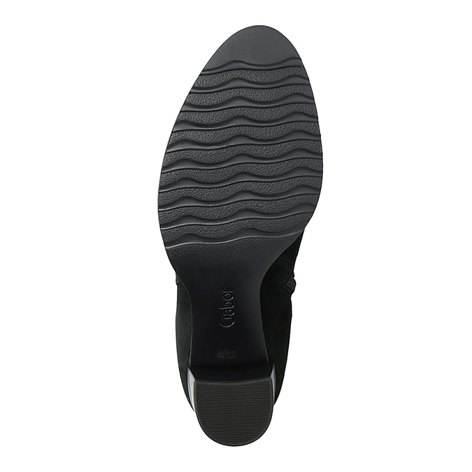 Kožené kotníčkové kozačky na širokém podpatku gabor, černá, 794-6014 - 26