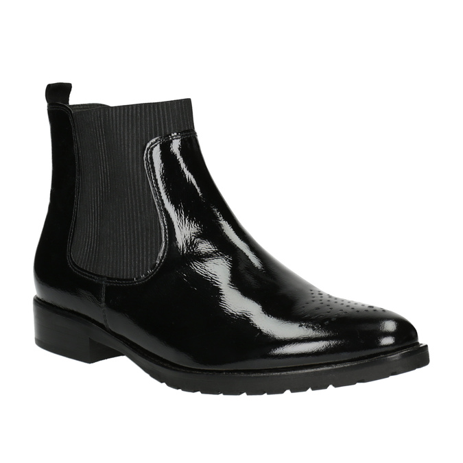 Chelsea boots z lakované kůže gabor, černá, 618-6006 - 13