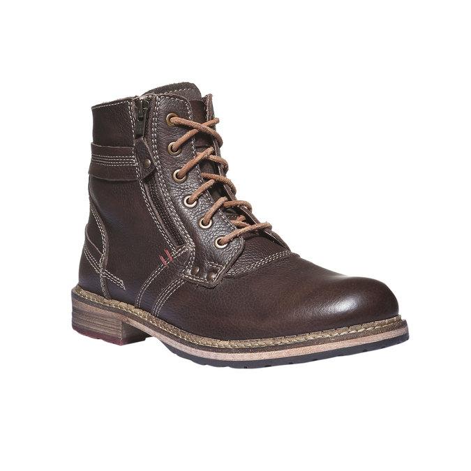 Kožené kotníčkové boty se zipem bata, hnědá, 894-4128 - 13