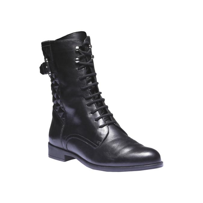 Kožená kotníčková obuv s prošitím bata, černá, 594-6160 - 13