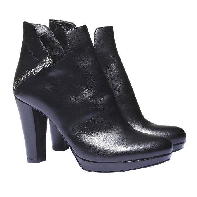 Kožené kotníkové kozačky na podpatku bata, černá, 794-6601 - 26