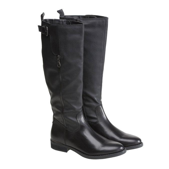 Kožené kozačky s přezkou bata, černá, 594-6108 - 26