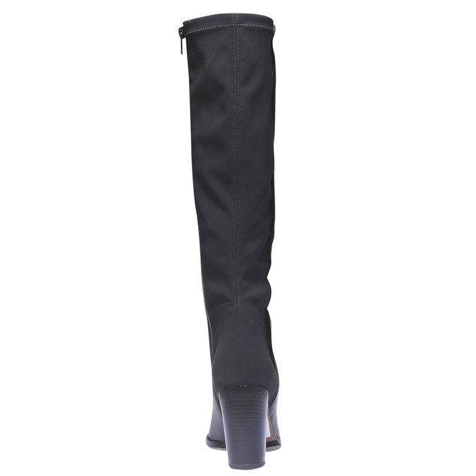 Kožené kozačky na podpatku bata, černá, 794-6604 - 17
