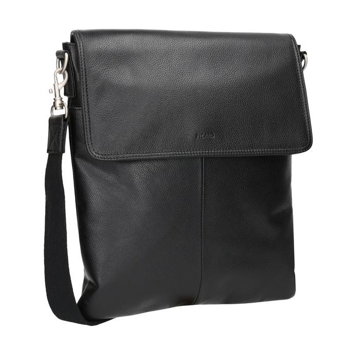 Kožená Crossbody taška s klopou picard, černá, 964-6026 - 13