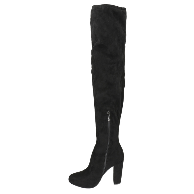 Kozačky nad kolena na podpatku bata, černá, 799-6605 - 19
