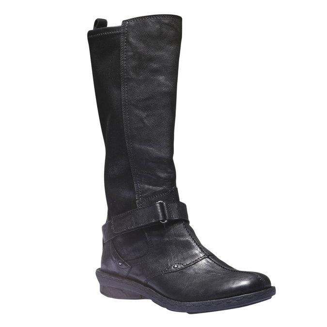 Kožené kozačky s páskem bata, černá, 694-6108 - 13